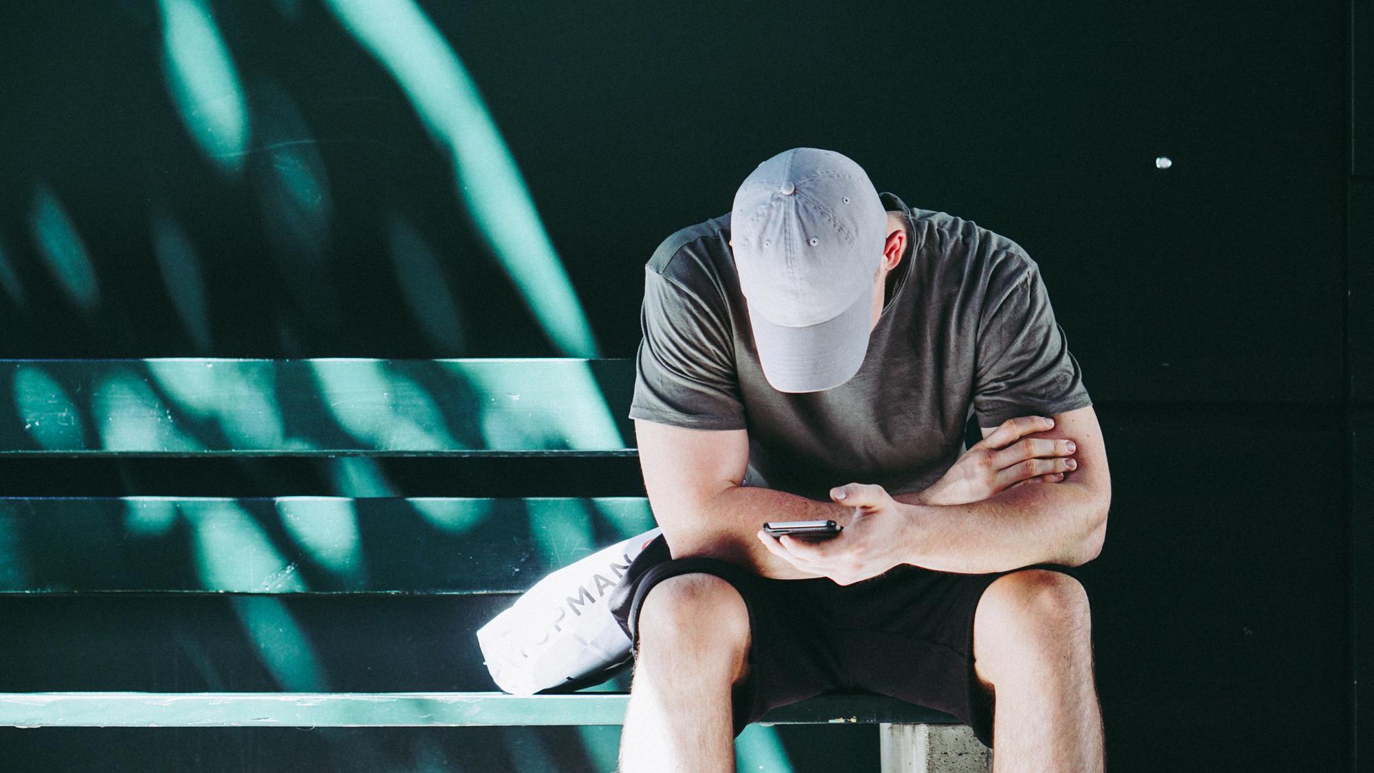 Man staring at phone